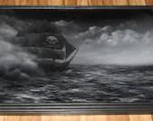 "24x36"" Original Oil Painting - Dark Pirate Ship Black White Ocean Seascape Ship of Sail Sailing - Giant Large Wall Art"