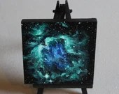 "Original Mini Painting - (4x4"") Green Blue Orion Nebula Galaxy Stars Starry - Outer Space Astronomy Oil Painting on Easel"