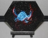 "5-6"" Original Mini Oil Painting Hexagon Flat Panel - Thor's Helmet Nebula Galaxy Deep Outer Space Starry Spacescape - Small Canvas Wall Art"