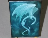 "4x6"" Original Mini Oil Painting - Green Blue White Ghostly Medieval Flying Dragon - Fantasy Wall Art Mini Painting"