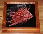 "8x8"" Original Mini Oil Painting - Orange White Striped Fish Lionfish Oceanlife Seacreature - Small Canvas Wall Art"