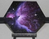 "5-6"" Original Mini Oil Painting Hexagon Flat Panel - Orion Nebula Galaxy Deep Space Outer Space Starry Spacescape - Small Canvas Wall Art"