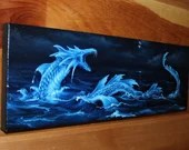 "RESERVED - 6x18"" Original Oil Painting - Blue Sea Dragon Painting - Fantasy Seascape Wall Art"