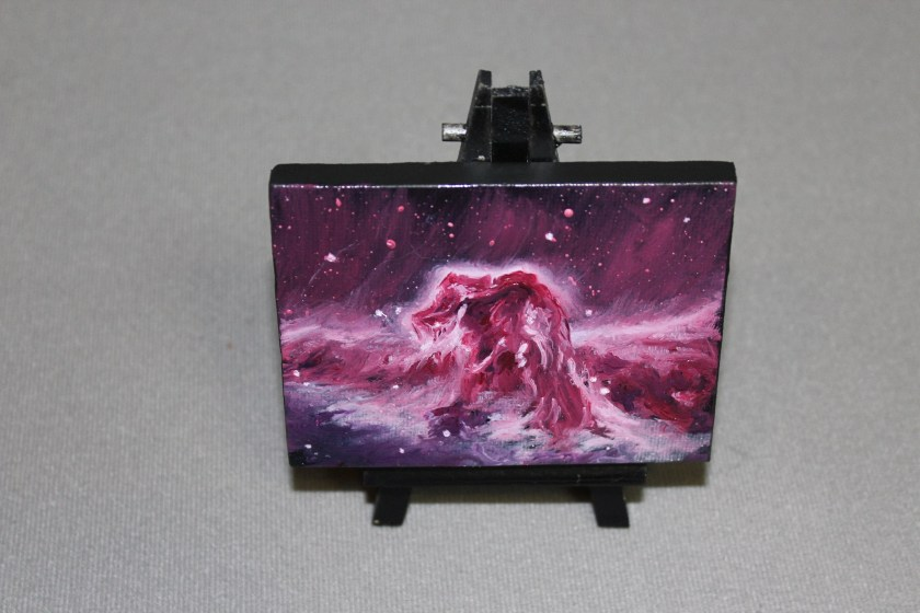 """Original Mini Painting - (3x4"""") Deep Space Pink Magenta Horsehead Nebula Galaxy Stars Starry - Oil Painting on Easel - Dollhouse Painting"""
