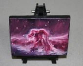 "Original Mini Painting - (3x4"") Deep Space Pink Magenta Horsehead Nebula Galaxy Stars Starry - Oil Painting on Easel - Dollhouse Painting"