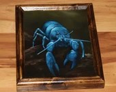 "8x10"" Original Oil Painting - Blue Lobster Rocky Beach Painting - Underwater Seacreature Oceanlife Wall Art"