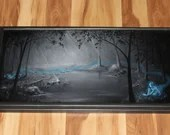 """12x24"""" Original Oil Painting - Ghost Spirit Lady Enchanted Woods Dark Horror Gothic Macabre Art - Fantasy Forest Landscape Wall Art"""