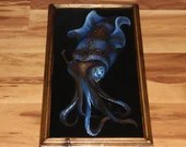 "10x20"" Original Oil Painting - Blue Brown Gold Giant Squid Cephalopod Fantasy Sea Ocean Cave - Underwater Seacreature Oceanlife Wall Art"