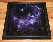 "12x12"" Original Oil Painting - Purple Bubble Nebula Galaxy Outer Space Deep Space Astronomy Stars Starry Wall Art"