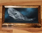 "6x12"" Original Oil Painting - Blue Gray Sperm Whale and Fish Moby Dick Whale - Underwater Seacreature Oceanlife Wall Art"