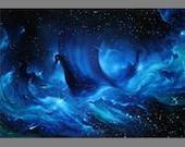 "Art PRINT - Celestial Ship Viking Longboat Outer Space Nebula Ocean Galaxy Blue Green Wall Art - Choose Size 4x6"" 5x7"" 8x10"" 12x16"" PRINTS"