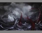 "Art PRINT - Viking Longboat Ship Lovecraftian Monster Horror Fantasy Ocean Storm Wall Art - Choose Size 4x6"" 5x7"" 8x10"" 12x16"" PRINTS"