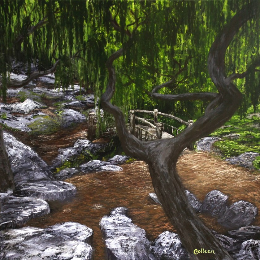 "24x24"" Original Oil Painting - Huge Green Forest Weeping Willow Bridge Park Landscape - Large Canvas Wall Art"