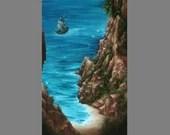"10x20"" Original Oil Painting - Ocean Seaside Cliffs Mountains Pirate Ship Beach -  Landscape Canvas Wall Art"