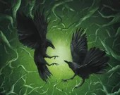 "16x16"" Original Oil Painting - Black Crows Ravens Birds Forest Green Vines Huginn Muninn -  Bird Ornithology Animal Wall Art"