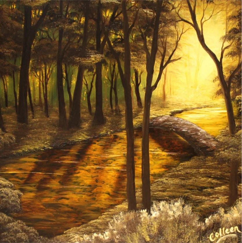 "24x24"" Original Oil Painting - Huge Golden Yellow Orange Forest River Bridge Landscape - Large Canvas Wall Art"