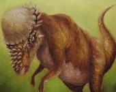 "10x10"" Original Oil Painting - Pachycephalosaurus Headbutt Dinosaur Wall Art Gift for Boys Jurassic Park Enthusiast Amateur Paleontologist"