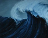 "18x18"" Original Oil Painting - Giant Dark Blue Ocean Wave Surfer - Canvas Wall Art"