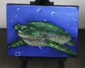 "Original Mini Painting - (3x4"") Seaturtle Turtle Oil Painting on Easel - Dollhouse Painting"