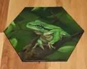 "5-6"" Original Mini Oil Painting Hexagon Flat Panel - Green Frog Forest Trees Treefrog Treefrogs Animals Animal  - Small Canvas Wall Art"