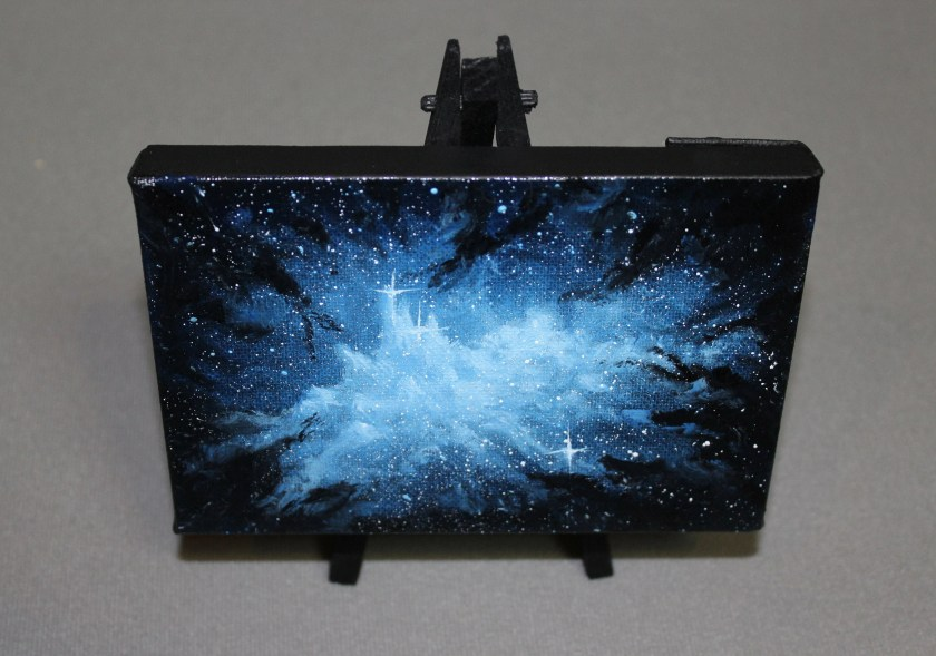 """4x6"""" Original Mini Oil Painting - Blue Icy Nebula Otherworldly Crystal Palace Outer Space Starry Spacescape - Small Canvas Wall Art"""