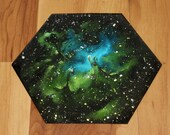 """5-6"""" Original Mini Oil Painting Hexagon Flat Panel - Eagle Nebula Galaxy Deep Space Outer Space Starry Spacescape - Small Canvas Wall Art"""