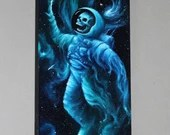 """10x30"""" Original Oil Painting - Astronaut Skeleton Skull Galaxy Nebula Birth of Stars Painting - Outer Space Astronomy Wall Art"""