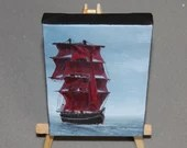 "4x6"" Original Mini Oil Painting - Ship of Sail Saling Pirate Ship Red Sails Ocean Seascape - Small Canvas Wall Art"