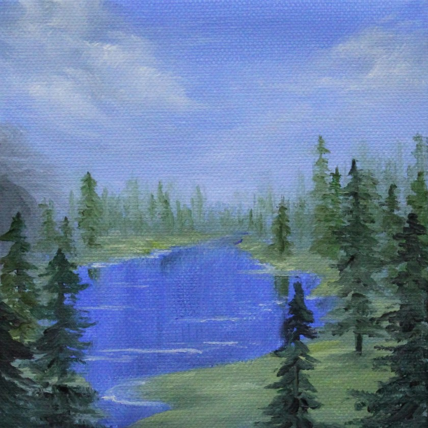 "6x6"" Mini Painting, Original Oil Painting - Blue Lake in Forest, Evergreen Forest, Peaceful Landscape Canvas Wall Art"
