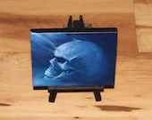 "3x4"" Original Mini Oil Painting - Human Skull Painting -  Indigo Blue Purple Skull - Macabre Decor Wall Art Gift for Men"