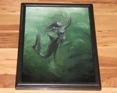 "12x16"" Original Oil Painting - Shark Mermaid Girl Underwater Caught in Net Ocean Sea Dark Green Black - Fantasy Wall Art"