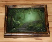 """8x10"""" Original Oil Painting - Green Forest Path Stairs Trees Flowers Enchanted Forest - Landscape Wall Art"""