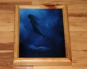 "8x10"" Original Oil Painting - Mermaid Underwater Ocean Sea Dark Blue Shadow - Fantasy Wall Art"