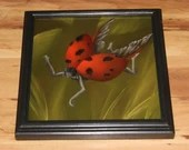 "10x10"" Original Oil Painting - Ladybug Fairy Faerie Fae Pixie in Forest - Wall Art"