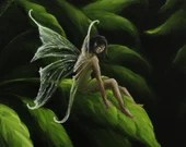 "10x10"" Original Oil Painting - Green Dark Forest Fairy Faerie Fae Pixie - Wall Art"