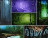 "2x4"" Magnet Forest Enchanted Trees Dark Woods Fantasy Art Print Refrigerator Thin Flat Square Magnet"