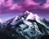 "RESERVED - 12x12"" Original Oil Painting - Pinnacle Pink Purple Cloudy Mountain Landscape - Canvas Painting Wall Art"