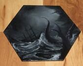 "5-6"" Original Mini Oil Painting Hexagon Flat Panel - Fantasy Horror Sea Monster Tentacles Octopus Ship Seascape - Small Canvas Wall Art"
