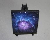"Original Mini Painting - (4x4"") Purple Blue Trifid Nebula Deep Space Stars Starry - Outer Space Astronomy Oil Painting on Easel"