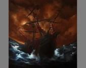 "Art PRINT - Brown Blue Ship Ocean Monster Tentacles - Lovecraftian Fantasy Horror Wall Art - Size 4x6"", 5x7"", 8x8"", 10x10"" 12x12"" PRINTS"