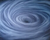 """18x18"""" Original Oil Painting - Black Hole Painting - Whirlpool Nebula Galaxy - Outer Space Wall Art"""