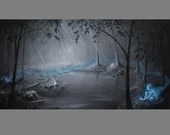"12x24"" Original Oil Painting - Ghost Spirit Lady Enchanted Woods Dark Spooky Gothic Macabre Art - Fantasy Forest Landscape Wall Art"