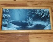"""8x16"""" Original Oil Painting - Winter Ice Fairy Snow Frozen Icicles Snowy Enchanted Forest - Winter Fantasy Landscape Wall Art"""