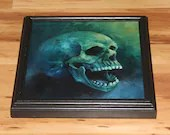 "10x10"" Original Oil Painting - Laughing Human Skull Painting - Dark Art - Horror Macabre Halloween Decor Wall Art Gift for Men"