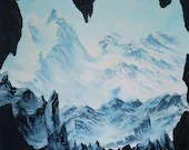 "24x24"" Original Oil Painting - Huge Mountain Range Cave Landscape - Large Canvas Wall Art"