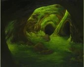 "20x24"" Original Oil Painting - Dark Haunting Forest Mossy Cave Landscape - Large Canvas Wall Art"