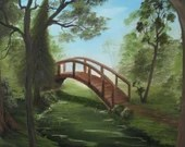 "18x18"" Original Oil Painting - Green Forest River Bridge Landscape - Canvas Wall Art"