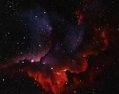 """16x16"""" Original Oil Painting - Wizard Nebula NGC 7380 Red Purple Blue Starry Stars Galaxy - Outer Space Astronomy Science Wall Art"""