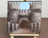 "Original Mini Painting - (4x4"") Medieval Castle Entrance, Oil Painting on Canvas with Easel, Apartment Decor, Small Gift"