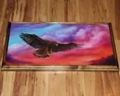 "12x24"" Original Oil Painting - Brown American Eagle Bird of Prey Sunset Sunrise Clouds Cloudy Sky -  Birds Ornithology Animal Wall Art"